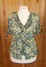1MAX brown green ivory off-white chiffon floral short sleeve blouse tunic top 16