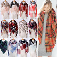 Womens Blanket Oversized Tartan Scarf Wrap Shawl Plaid Cozy Checked Pashmina Lot