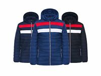 Mens Quilted Designer Fashion Jacket Padded Bubble Puffer Hooded Zip Coat 3 CLRS