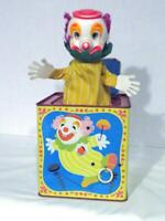 VINTAGE 1971 MATTEL TALKING CLOWN IN THE BOX TIN PULL CORD PUSH BUTTON WORKING