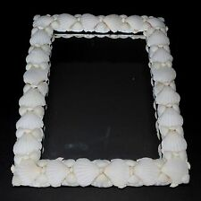 "11"" X 14"" MIRROR FRAMED IN WHITE SEA SHELLS, HAND MADE, BEACH DECOR"