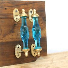 2 Pc Antique Style Beautiful Blue Crystal Cut Glass Brass Door Handle Pair 6.6""