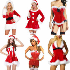 Plus Size Sexy Miss Santa Corset Bustier Xmas Outfit Christmas Fancy Dress 6-24
