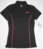 ASICS Women's Small Black Pink Tennis Golf Athletic Short Sleeve Polo Shirt New