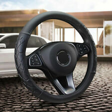 Fiber Leather Car Steering Wheel Cover Wear Non-Slip Soft Silicone 15''/38cm Set