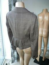 Lk BENNETT Peplum Rufle Jacket Blazer Country Check 100% Wool waist length uk 12