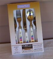 20 PC CORELLE SUMMER BLUSH PANSY FLOWERS FLATWARE-SILVERWARE-STAINLESS-CORNING