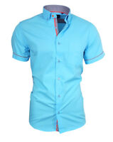 Binder de Luxe Herren Hemd Shirt Brusttasche Kurzarm 82908 türkis