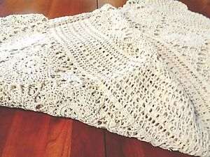 """Antique  Round handmade tablecloth 72"""" nice natural"""