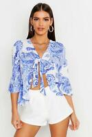 Boohoo Woven Porcelain Print Tie Top Blue UK Size 12 VR216 018