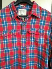 "Para hombre Abercrombie and Fitch ""músculo"" Rojo Tartán Camisa Manga Larga Talla XXL"
