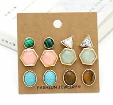 Women's Gold Plated Resin Stone Turquoise Geometric Stud Earrings