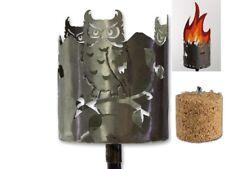Gartenfackel Metall Rost Windlicht Brenndose Feuerschale Eule incl. 4 Brenner