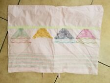 """Land of Nod """"Embroidered Lace Skirts - Pink"""" Standard Pillow Sham"""