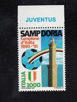 ITALIA SAMPDORIA CAMPIONE D'ITALIA CALCIO 1990 / 1991 APPENDICE JUVENTUS  MNH **