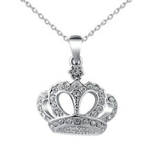 Women Necklace Alloy Chain Crystals Crown Pendant Necklaces Jewelry Girl Gift
