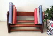 Old Vintage Oak Book Trough, Wooden Rest Shelf Rack Stand, Handmade Desk Storage