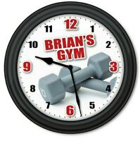 Gym Weight Personalized Wall Clock - Workout Fitness Barbell Dumbbell - GIFT