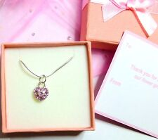 Small Crystal Heart Necklaces Flower Girl Bridesmaid Gift Tag +Box  in Bag
