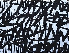 Black Graffiti Print Cotton French Terry Fabric on White 6/16 (Hoodies)