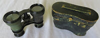 """Vintage Binoculars ANTIQUE LEATHER-WRAPPED 3 x 4""""1/2"""