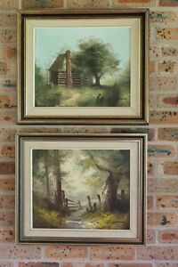 2 Vintage Original Oil Paintings Rural Landscape Scenes Signed Norman