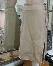 Vintage Jag wheat denim skirt.Sz8.Fringe hem.Embroidered.Boho and funky.VGC