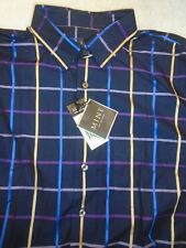 MINE 100% Cotton Black Windowpane Check Print Sport Shirt NWT Large $135
