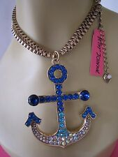 BETSEY JOHNSON SHIP SHAPE LARGE CRYSTAL ANCHOR STATEMENT NECKLACE~NWT