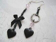 MISMATCH JET BLACK LOVE HEART BOW PINK BEAD Gothic Long Drop SP Earrings Dita