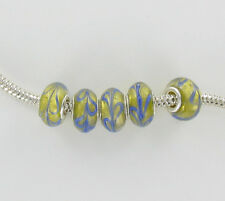 Beads Glass Lampwork Gold with Blue Swirls Sterling Silver Core Lot of 5