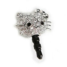 Phone Charm Jeweled PRETTY KITTY 3.5mm Dust Plug Android iPhone Cell Mobile
