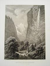 Wasserfall Staubach Staubbach Lauterbrunnen  Schweiz echte alte Aquatinta 1850