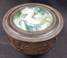 Antique Neo Classical Bronze Covered Powder Box - Glass Liner & Interior Mirror