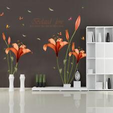 KE_ Fashion Flower Butterfly Wall Sticker Bedroom Living Room Home Decoration