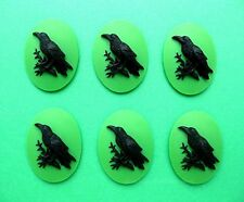 Color 30mm x 20mm Costume Jewelry Cameos 6 Black Bird Goth Crow Raven on Green