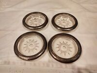 Vintage Silver Plate Glass Coasters Italy set of Four Starburst Pattern