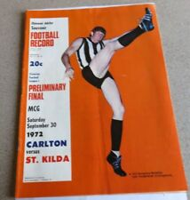 1972 VFL Diamond Jubilee Preliminary Final Record - Carlton v St Kilda