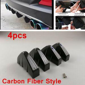 4pcs Car Accessories Shark Fin PVC Rear Bumper Splitter Diffuser Moulding Trim