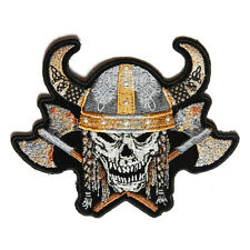 Embroidered Viking Skull with Axes and Horn Sew or Iron on Patch Biker Patch