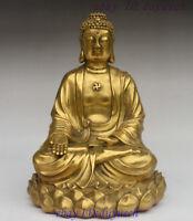 """10"""" Chinese Buddhism Brass Sit Sakyamuni Shakyamuni Ratnasambhava Buddha Statue"""