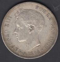 Spagna Monete 5 Quarti di Dollaro 1898 18 98 Alfonso XIII - Madrid