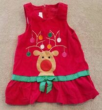 BONNIE BABY 18 MONTH RED CHRISTMAS REINDEER CORDUROY JUMPER DRESS ADORABLE
