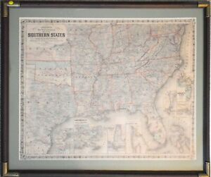 Framed 1864 Civil War Era Colton's Map of the Southern States RP5