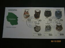 Tanzania 7 Stamp FDC 1992 Domestic Cats Cat Art Sc#967 A-G