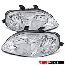 For 1999-2000 Honda Civic 2/3/4DR Pair Clear Lens Headlights Lamps Left+Right