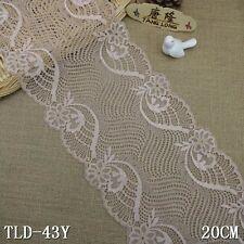 """3yd 7.8"""" khaki Floral Stretch Lace Fabric DIY Sewing Wedding Bridal Dress L2903"""