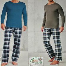 2 tlg. Herren Flanell Pyjama Schlafanzug Baumwolle Gr.M L XL blau/grau NEU