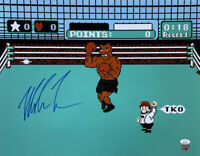 Mike Tyson Signed in Blue 16x20 Boxing Punch Out Photo JSA ITP