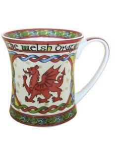 "WELSH DRAGON  BISTRO MUG ,""Wales Cwmru "" Celtic Weave Design Coffee Cup"